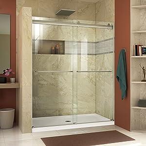 DreamLine Essence 56-60 in. W x 76 in. H Frameless Bypass Shower Door in Brushed Nickel, SHDR-6360760-04
