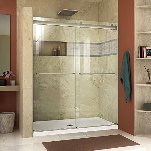 DreamLine Essence 44-48 in. W x 76 in. H Frameless Bypass Shower Door in Brushed Nickel, SHDR-6348760-04