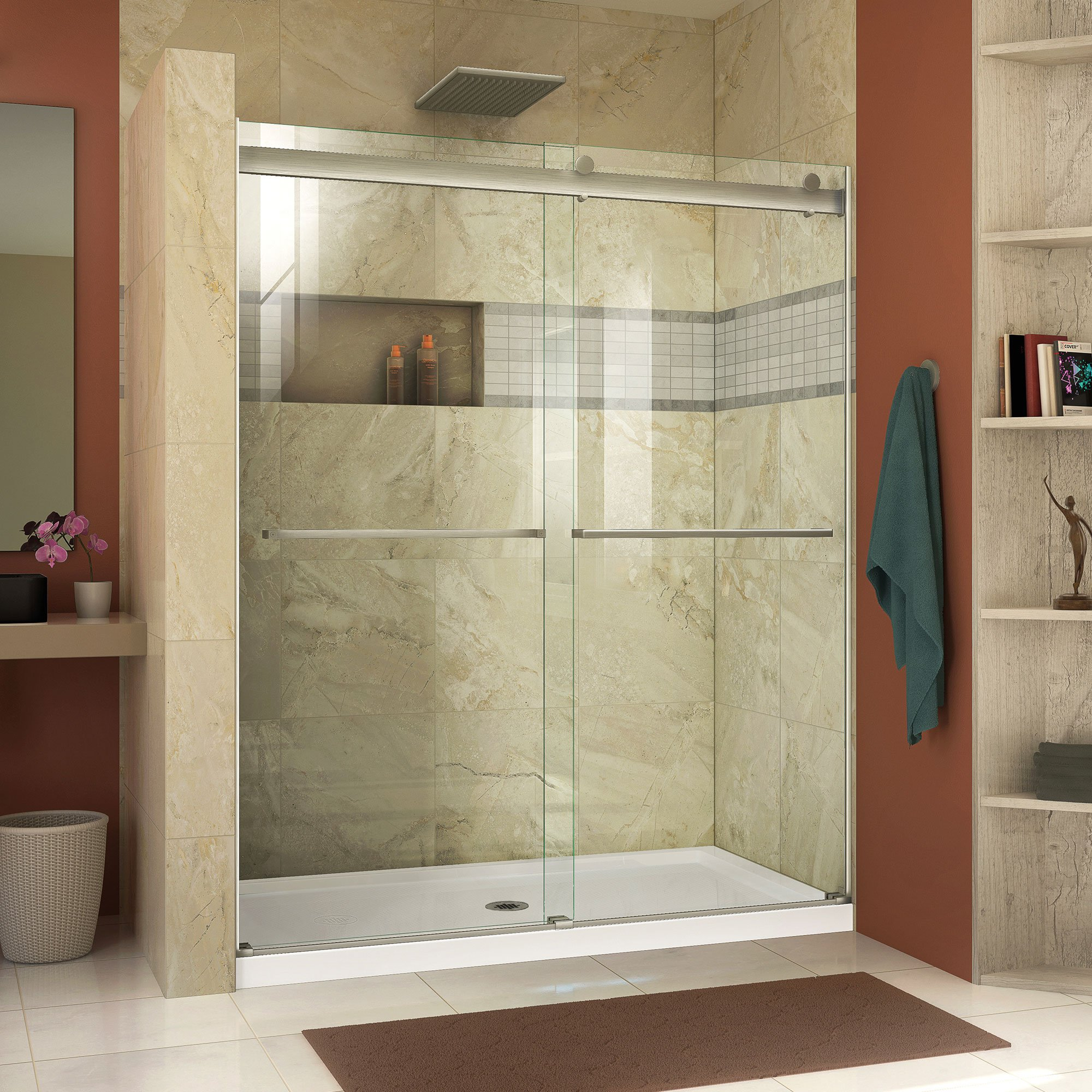 DreamLine SHDR-6360760-04  Essence 56 to 60 in. Frameless Bypass Shower Door in Brushed Nickel Finish by DreamLine (Image #1)