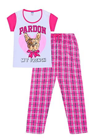 b90389968 Cute Pardon My French Long Woven Bottoms Ladies Long Pyjamas Bulldog ...