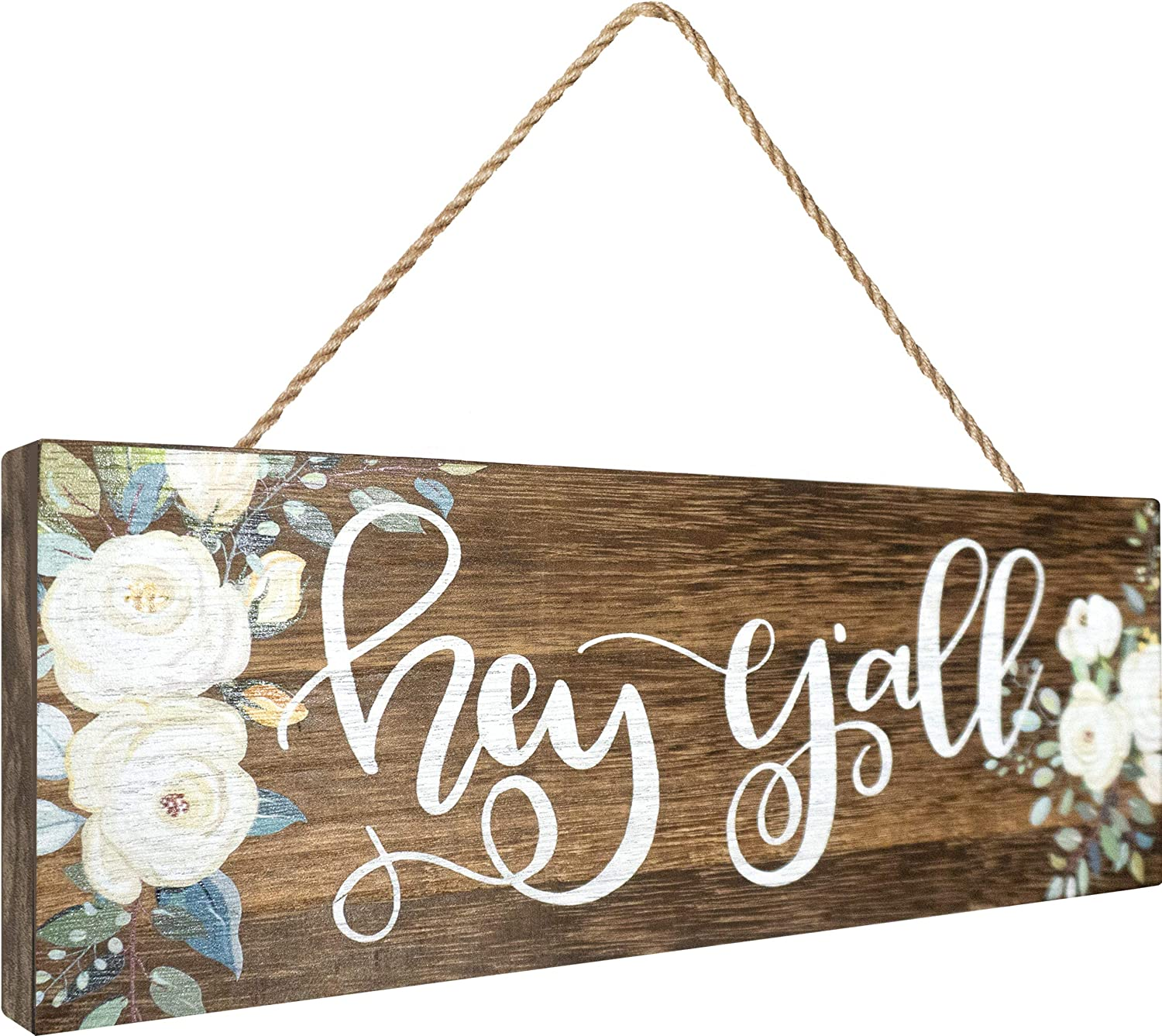 Apanda Wooden Hey Y'all Sign Wall Hanger, Magnolia Welcome Hello Sign Home Outdoor Wooden Wall Decor for Front Door Kitchen