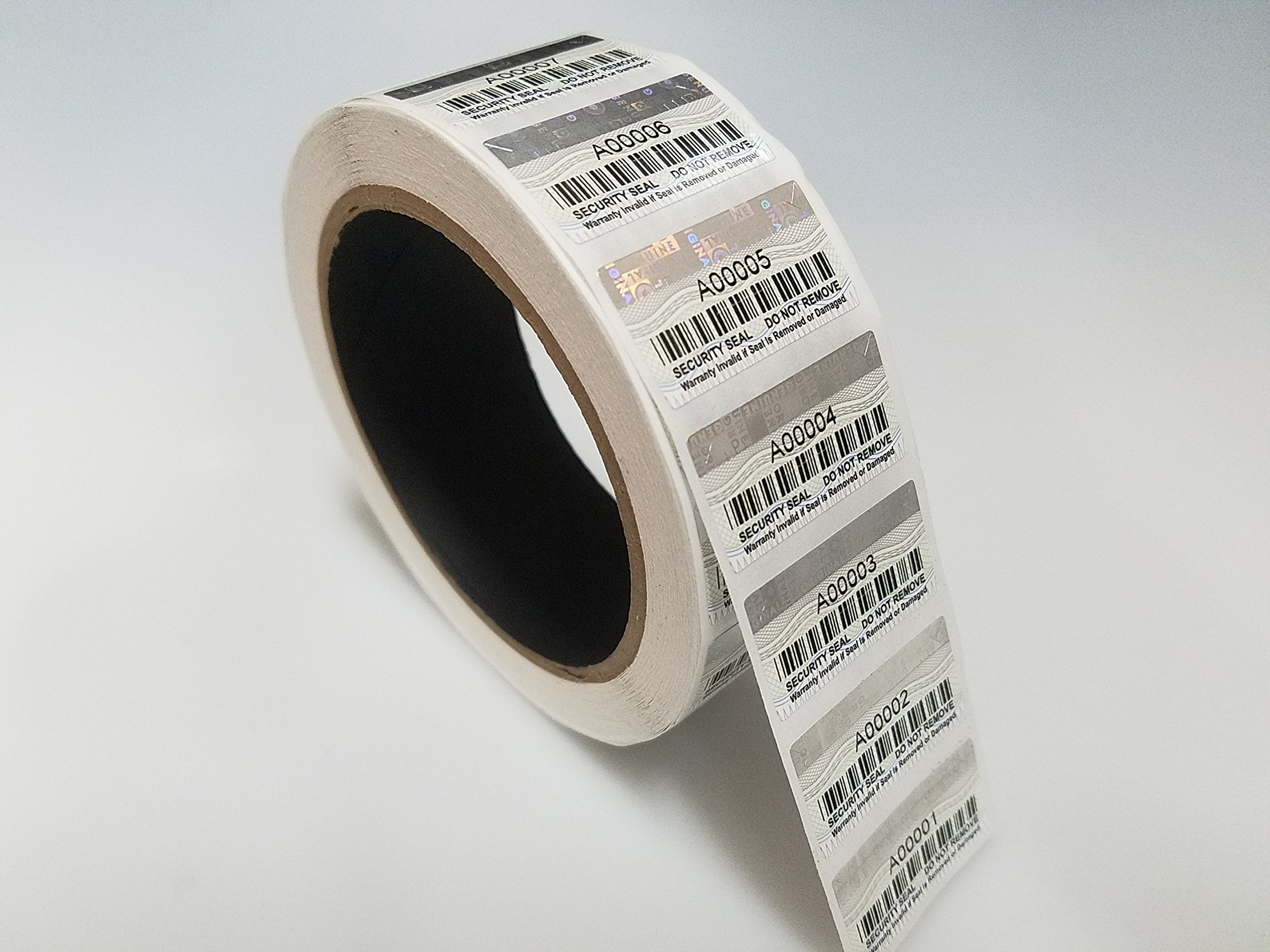 1000 High Security with Hologram Destructible Sticker 34mm x 18mm Labels with Consecutive Numbering and Barcode