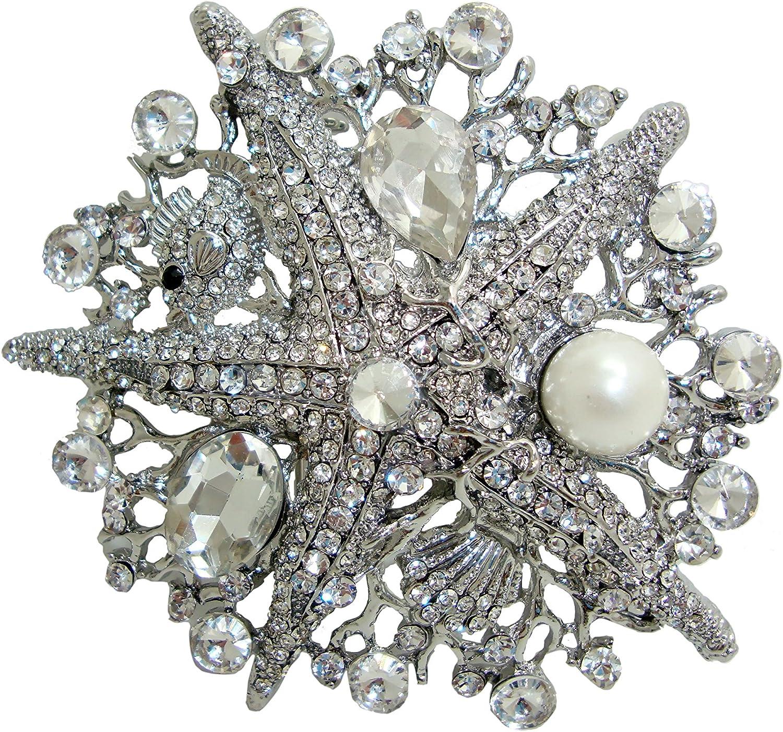 TTjewelry Vintage Style Rhinestone Crystal Starfish Brooch Pin