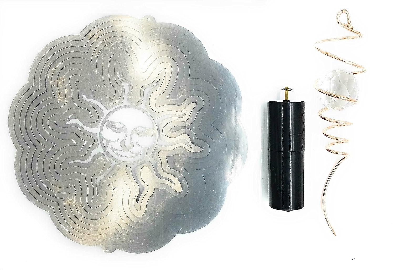 クラシックSun クラシックSun Wind Spinner Spinner B0713XRJ8G inシルバーwithクリスタルボール銅テールとバッテリーモーター B0713XRJ8G, ヤシママチ:765e81d4 --- artmozg.com