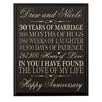 LifeSong Milestones Personalized 30th Wedding Anniversary Gift for Couple, Custom Made 12 Inches Wx 16