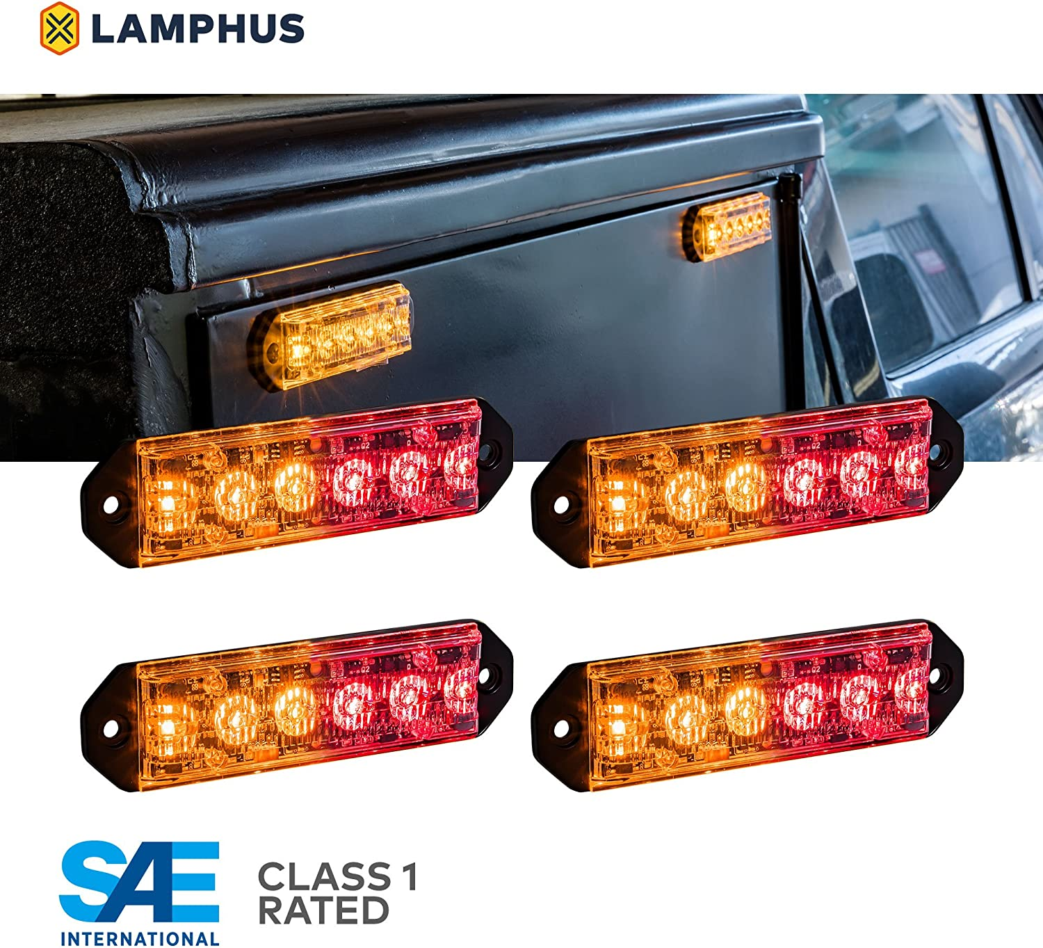 Surface-Mount 72 Flash Mode Emergency Grille Police Light for Volunteer Firefighter PlanarFlash 6W Blue RED LED Flashing Strobe Light Head Ultra Flat Multi Units Sync-able SAE Class 1