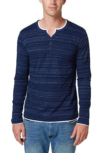 998ee2k822, Camisa Manga Larga para Hombre, Azul (Navy 400), Small Esprit