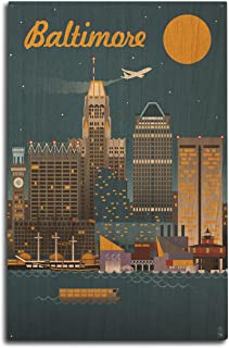 product image for Lantern Press Baltimore, Maryland - Retro Skyline (10x15 Wood Wall Sign, Wall Decor Ready to Hang)