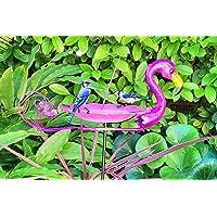 Large Outdoor Flamingo Bird Bath Stake, Sparkling Pink Metal & Glass Birdbath, Bird Feeder, Flamingo Bird Bath For…