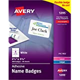 "Avery White Adhesive Name Badges , 2-1/3"" x 3-3/8"", 400 Name Badges per Pack, Case Pack of 5 (5395)"