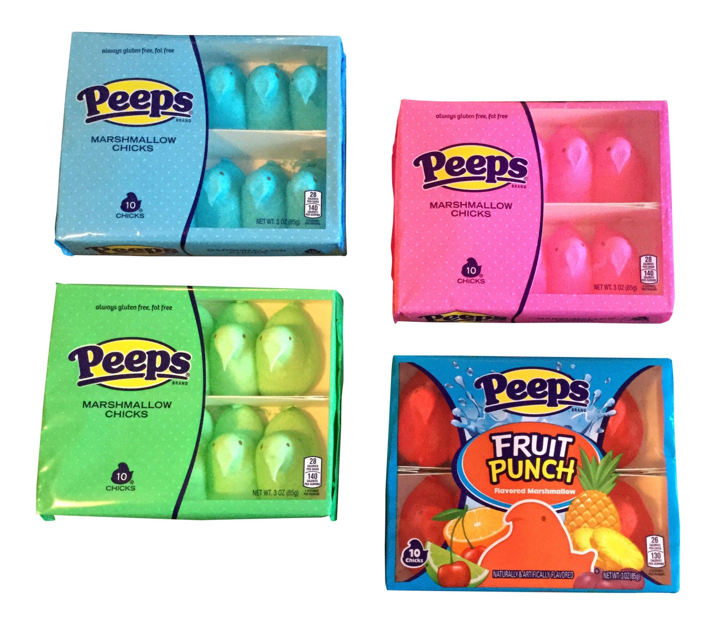 Peeps Easter Spring 4 Pack Variety Bundle - 10 Chicks Each Package
