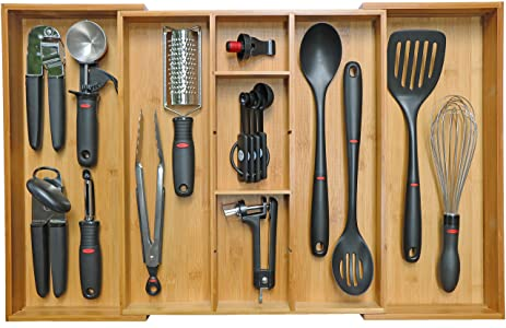 kitchenedge adjustable bamboo kitchen drawer organizer for utensils and junk expandable to 28 inches wide amazon com  kitchenedge adjustable bamboo kitchen drawer organizer      rh   amazon com