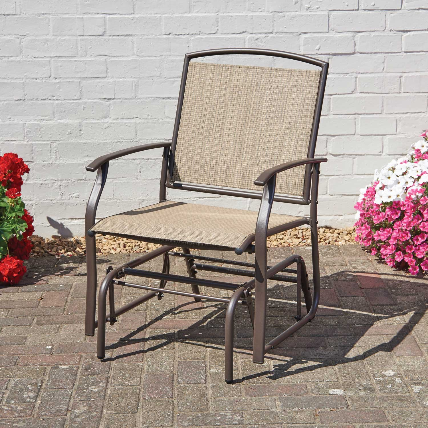 Garden Glider Chair Gentle Rocking Action Beige Textiline Bronze Steel Frame Weather And Stain Resistant Gablemere