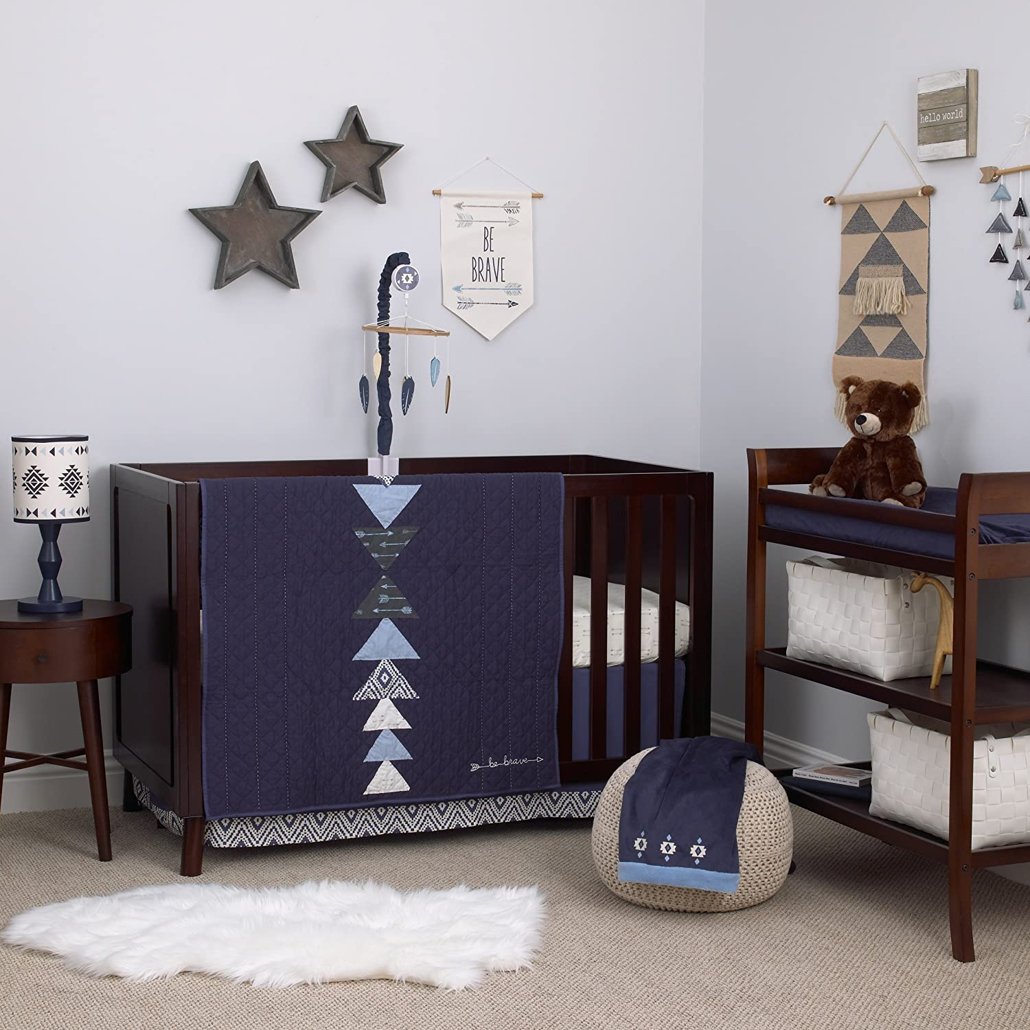 Carter's - Be Brave - 3-Piece Crib Bedding Set/Navy/ Light Blue/White Crown Crafts Infant Products 3825276