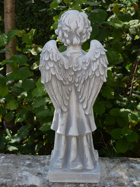 Grey gartendekoparadies.de Solid Stone Figure Large Angel on Pedestal Cast Stone Frost-Proof