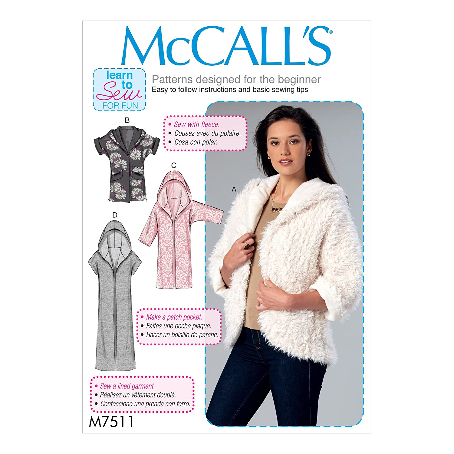 Amazon.com: McCall Patterns M7511ZZ0 Open-Front Jackets with Shawl Collar and Hood