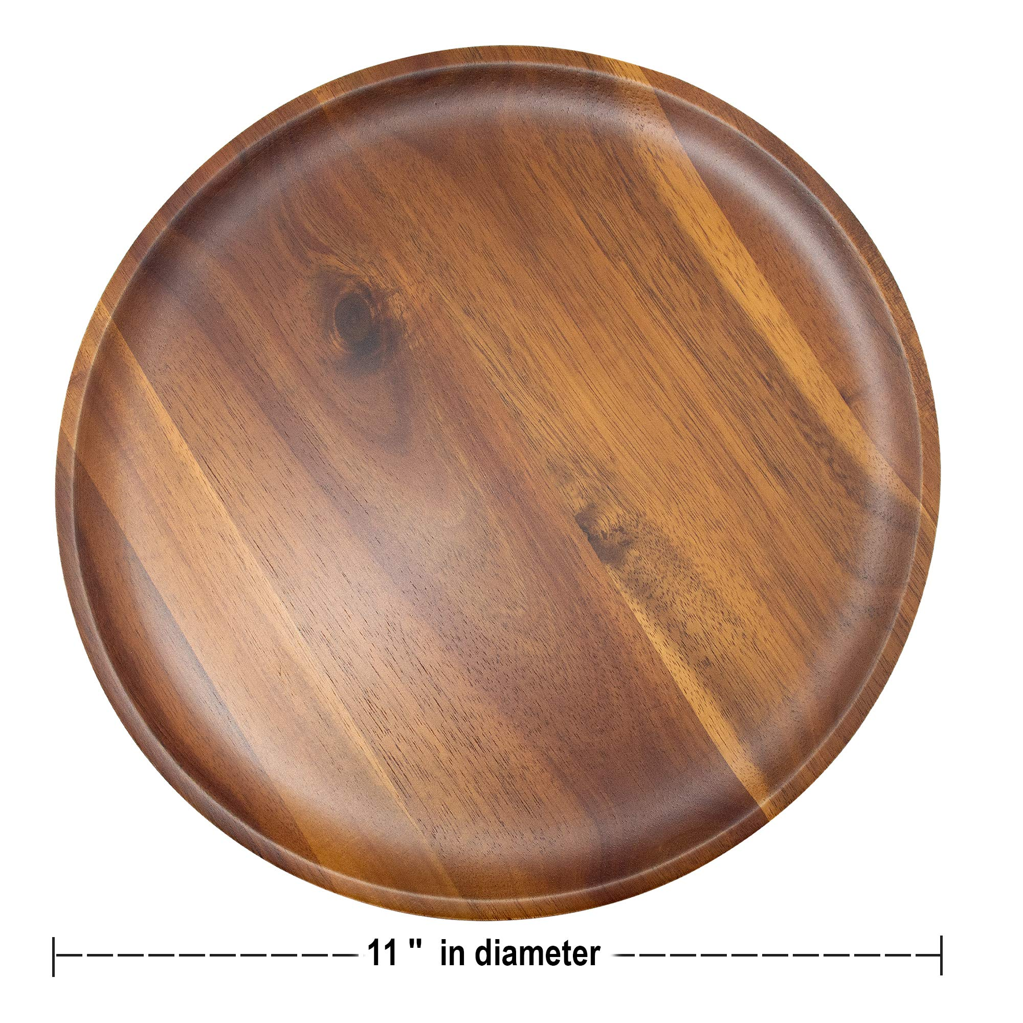 AIDEA Acacia Wood Food Serving Charger Plates - 11 inch Set of 4 Round Wooden Dishes Snack Plates by AIDEA (Image #2)