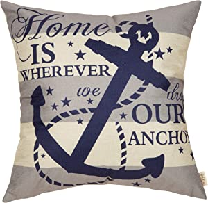 """Fjfz Nautical Farmhouse Decorative Throw Pillow Cover Home is Wherever We Drop Our Anchor Quote Sign Summer Cruise Lover Decoration Home Decor Cotton Linen Cushion Case for Sofa Couch, 18"""" x 18"""""""