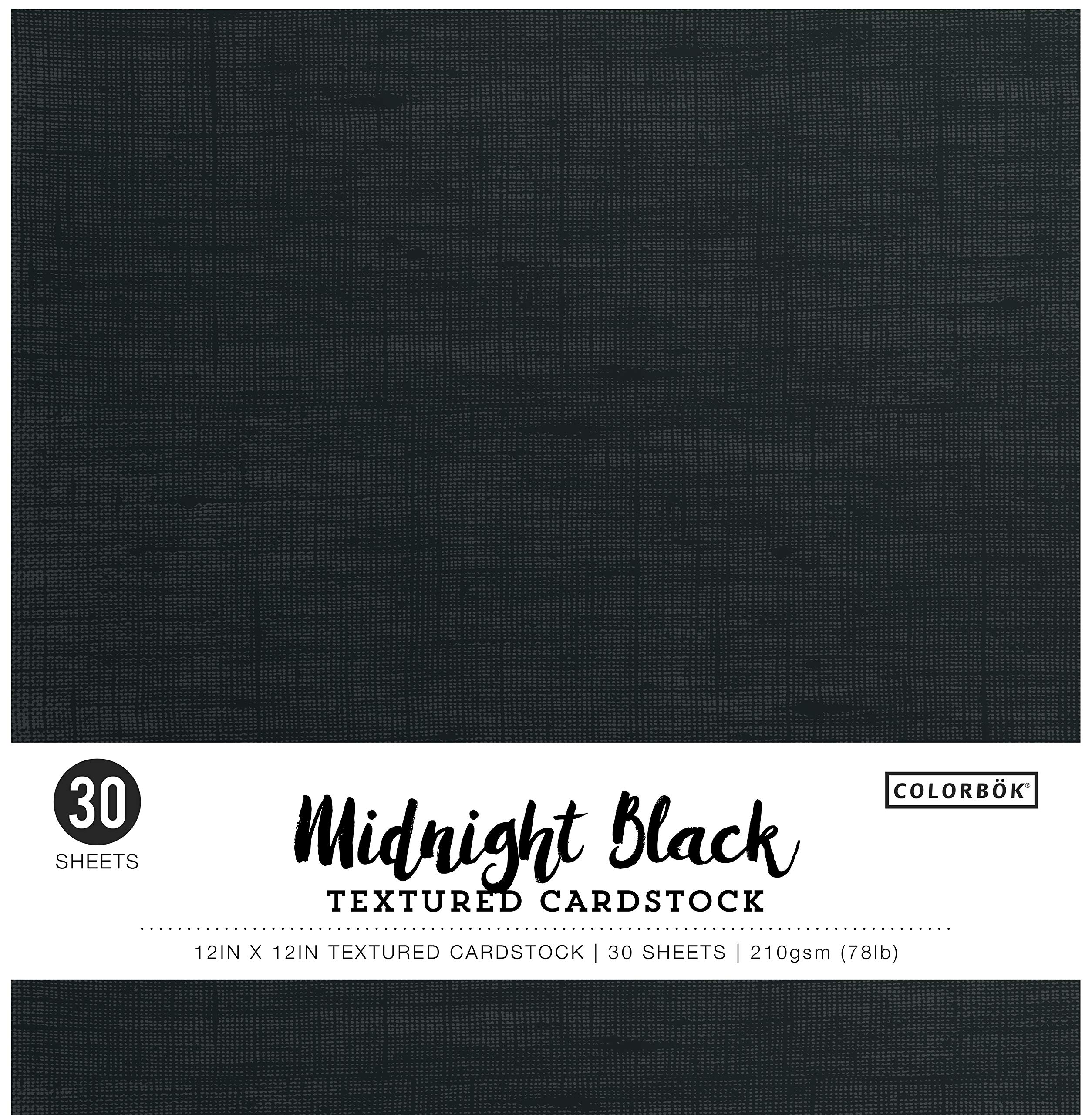 "Colorbok Textured Cardstock Paper Pad, 12"" x 12"", Midnight Black"