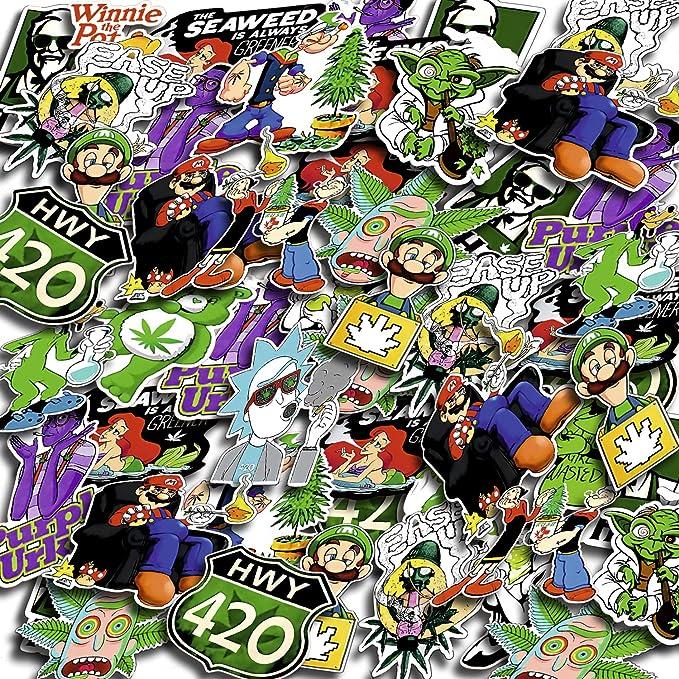 Weed Stickers Vinyl Decal Laptop Grass Cannabis Pothead Marijuana Hippie 50pcs