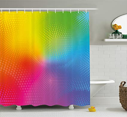 Ambesonne Rainbow Shower Curtain Vibrant Neon Colors Circles Rounds Dots Radiant Composition Iridescent Effect Print