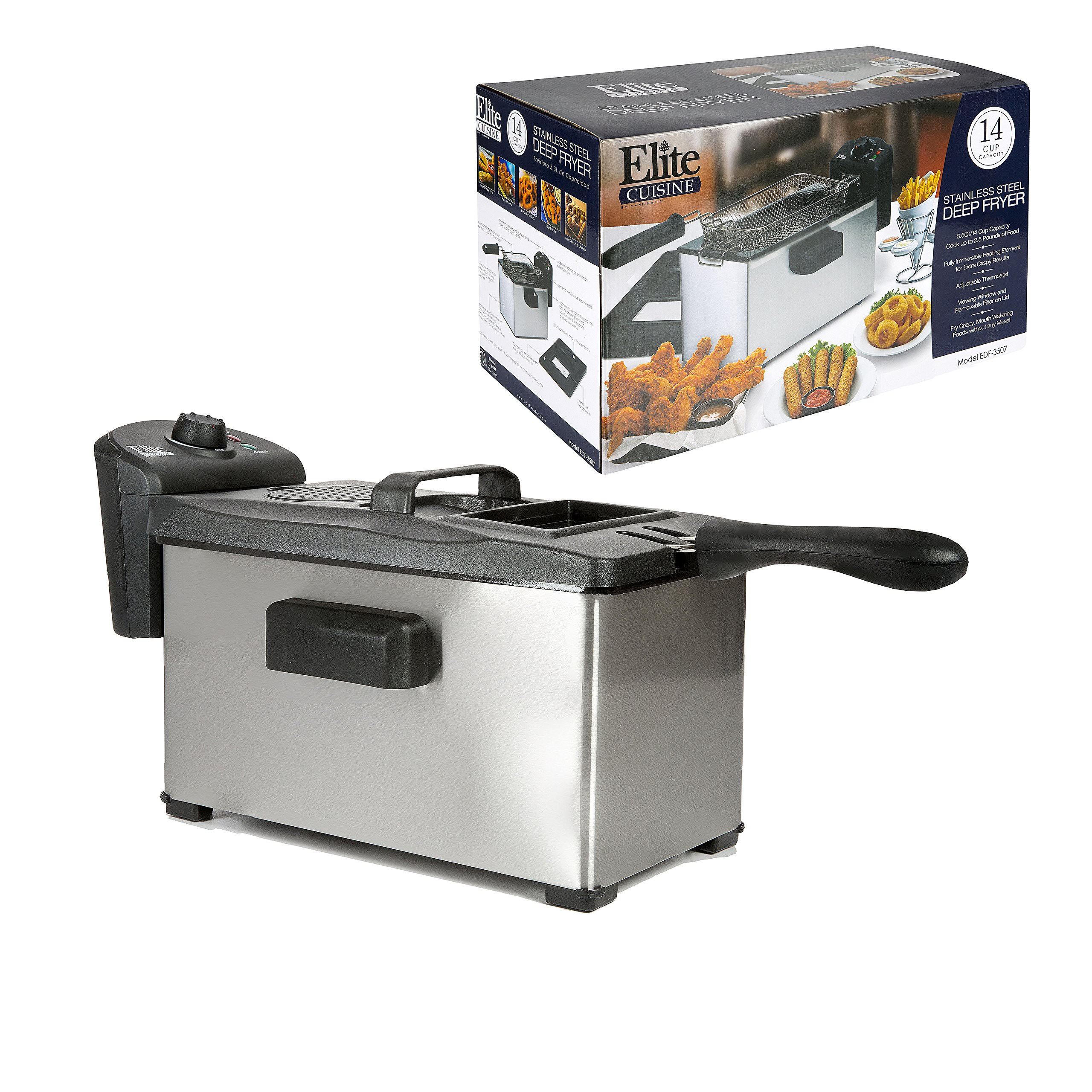 Elite Cuisine EDF-3507 Maxi-Matic 3.5 Quart Immersion Deep Fryer, Stainless Steel