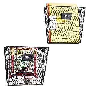 MyGift Rustic Chicken Wire Wall-Mounted Magazine & File Folder Baskets w/Chalkboard Label Inserts, Set of 2