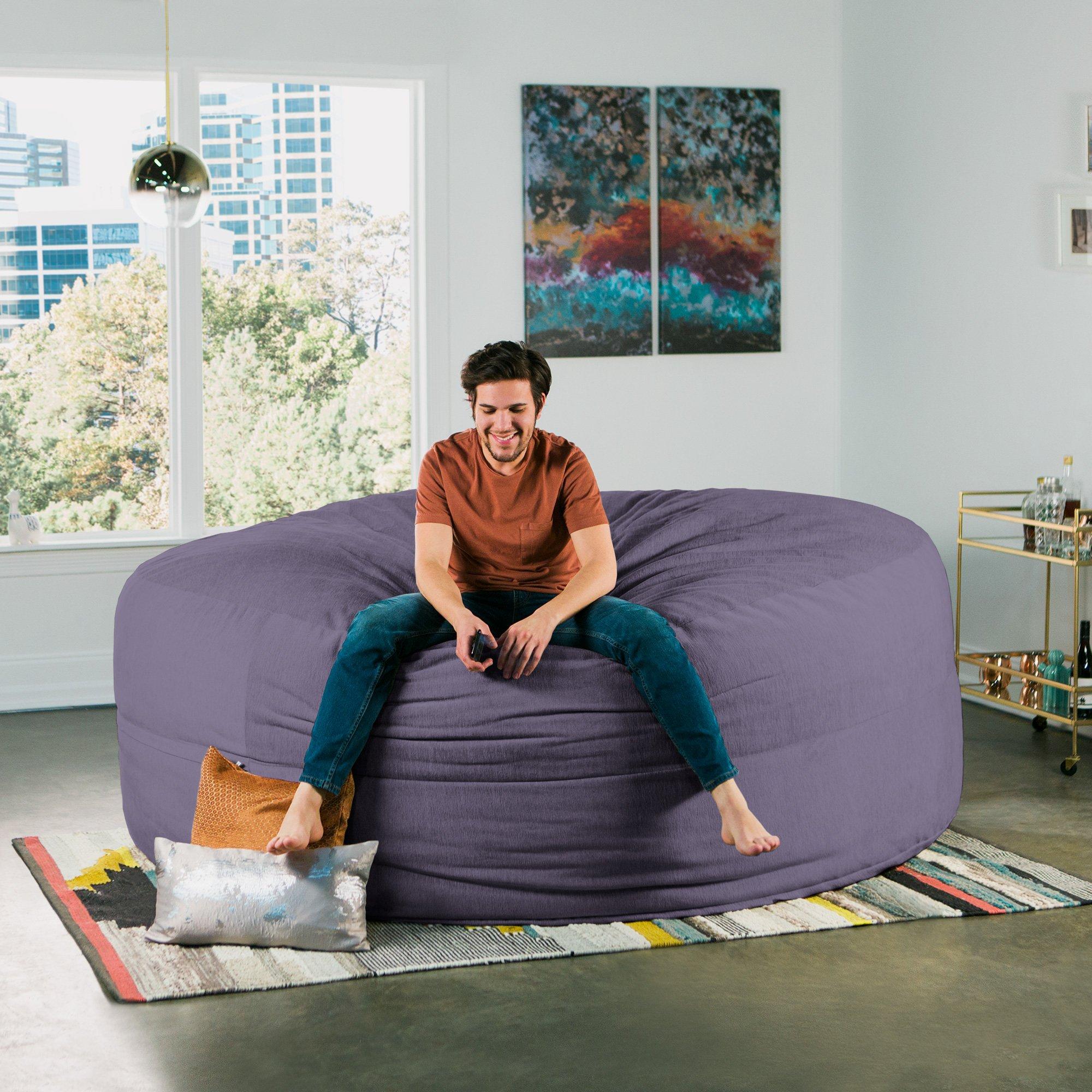 Jaxx Cocoon 8 Foot Huge Sleeper Bean Bag Bed - Chenille, Plum by Jaxx (Image #4)
