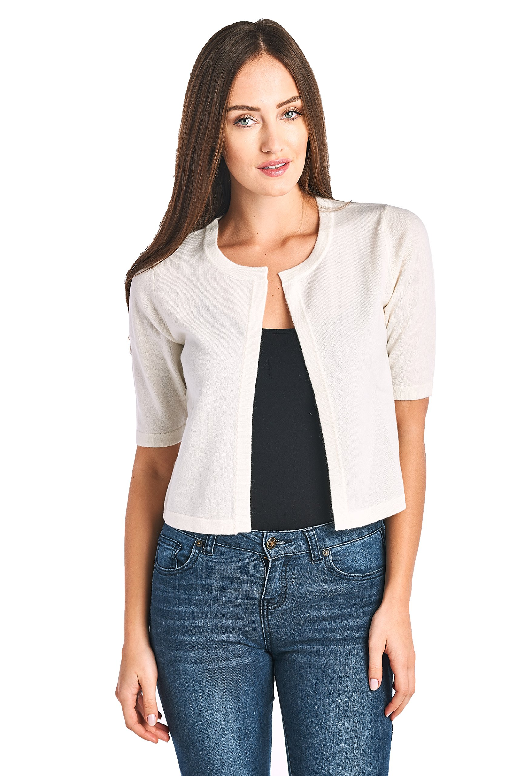 High Style Women's 100% Cashmere Short Sleeve Cropped Open Cardigan Sweater (17617, Cream, M)
