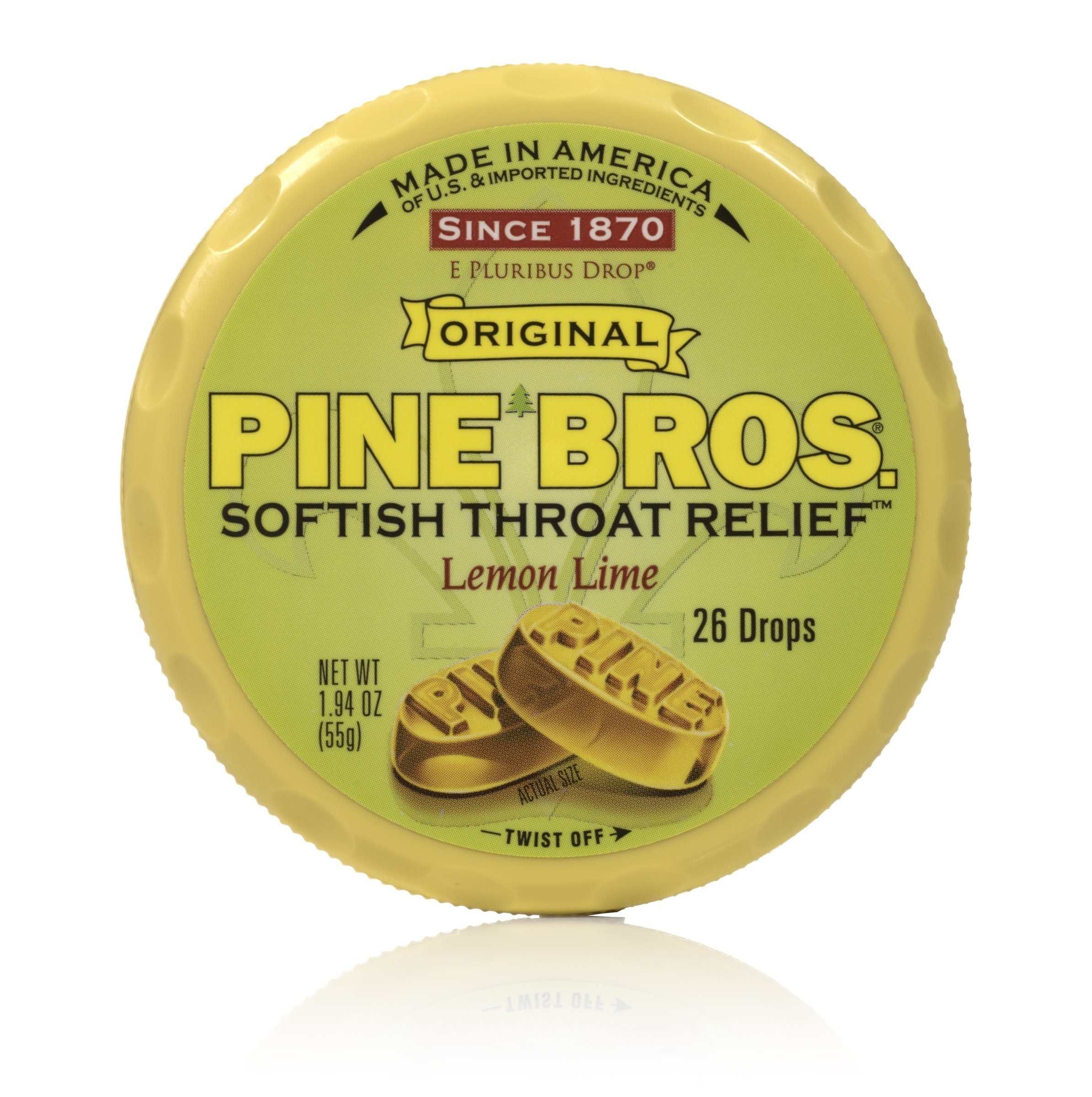 Pine Bros Throat Drops Puck, Lemon Lime, 26 Count (Pack of 72) by Pine Bros.