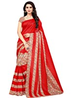 SAREE MALL art silk Saree With Blouse Piece (SRJ012_Red_Free Size)