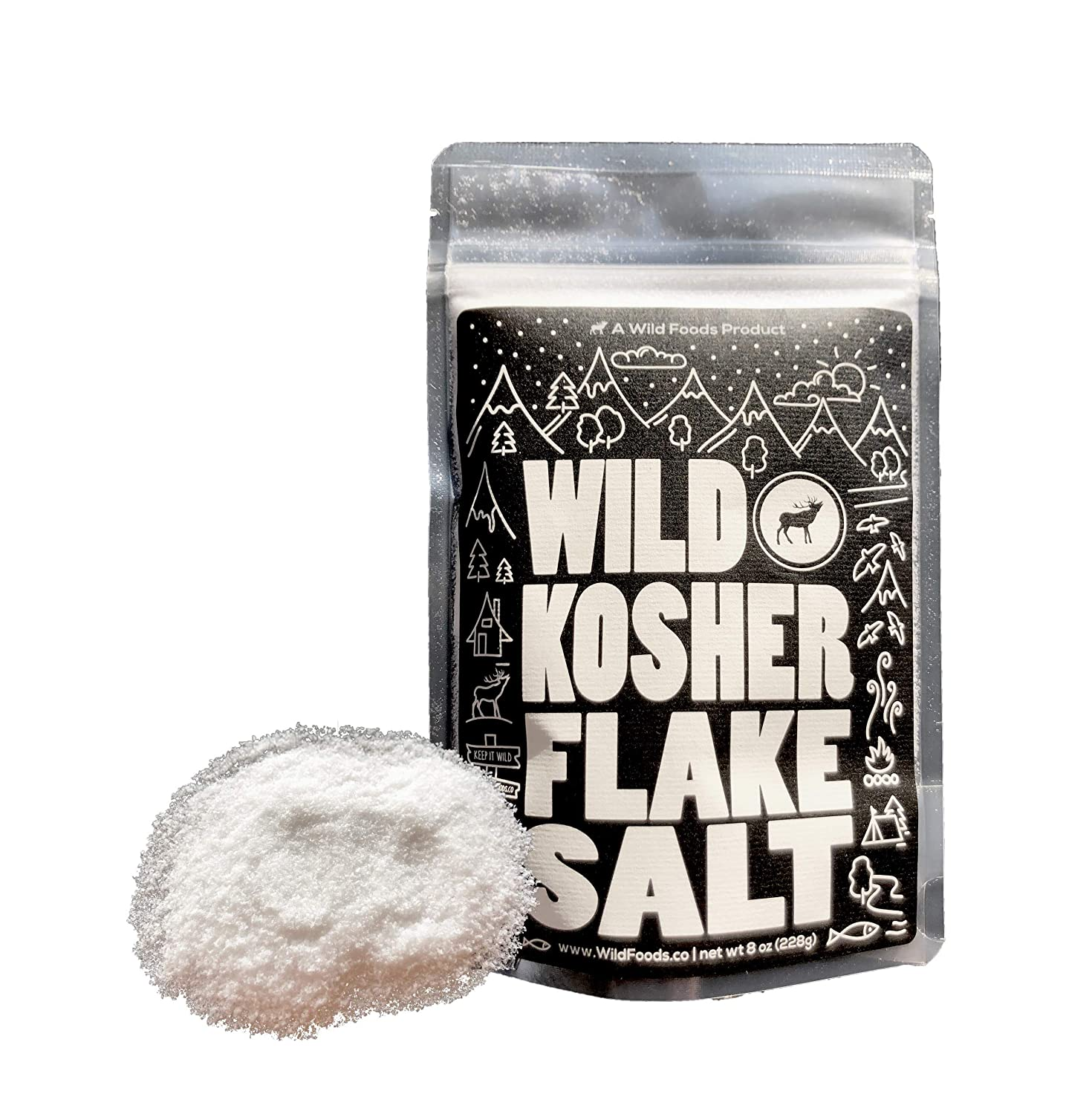 Kosher Fine Flake Sea Salt by Wild Foods, Unrefined, 100% Natural, Pacific Ocean Harvested Sea Salt for Cooking, Marinating, Brining, Finishing Healthy Recipes (8 ounce)