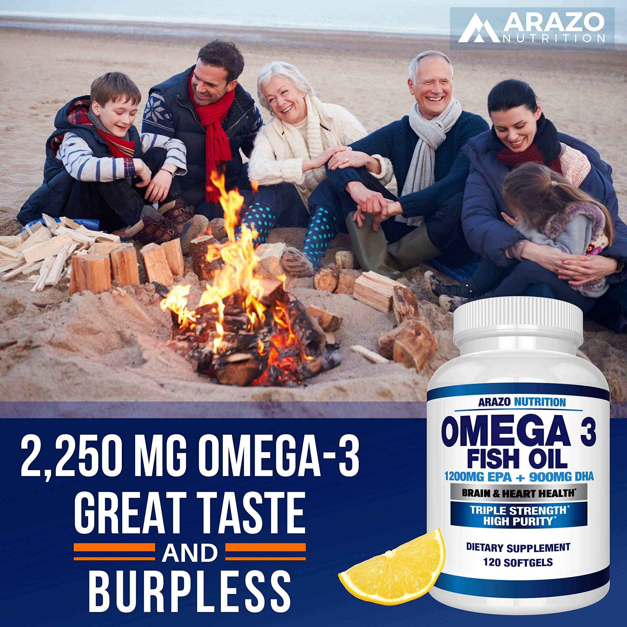Omega 3 Fish Oil 2250mg   HIGH EPA 1200MG + DHA 900MG Triple Strength Burpless Capsules   120 Pills   Arazo Nutrition by Arazo Nutrition (Image #5)