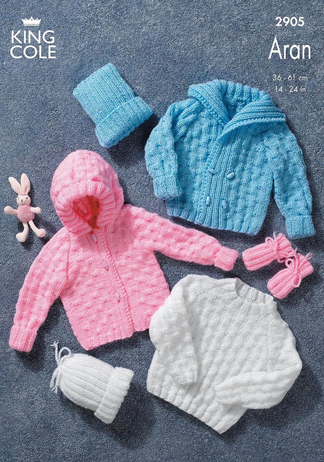 King cole baby sweater jacket mitts hat aran knitting pattern king cole baby sweater jacket mitts hat aran knitting pattern 2905 by king cole amazon kitchen home bankloansurffo Image collections