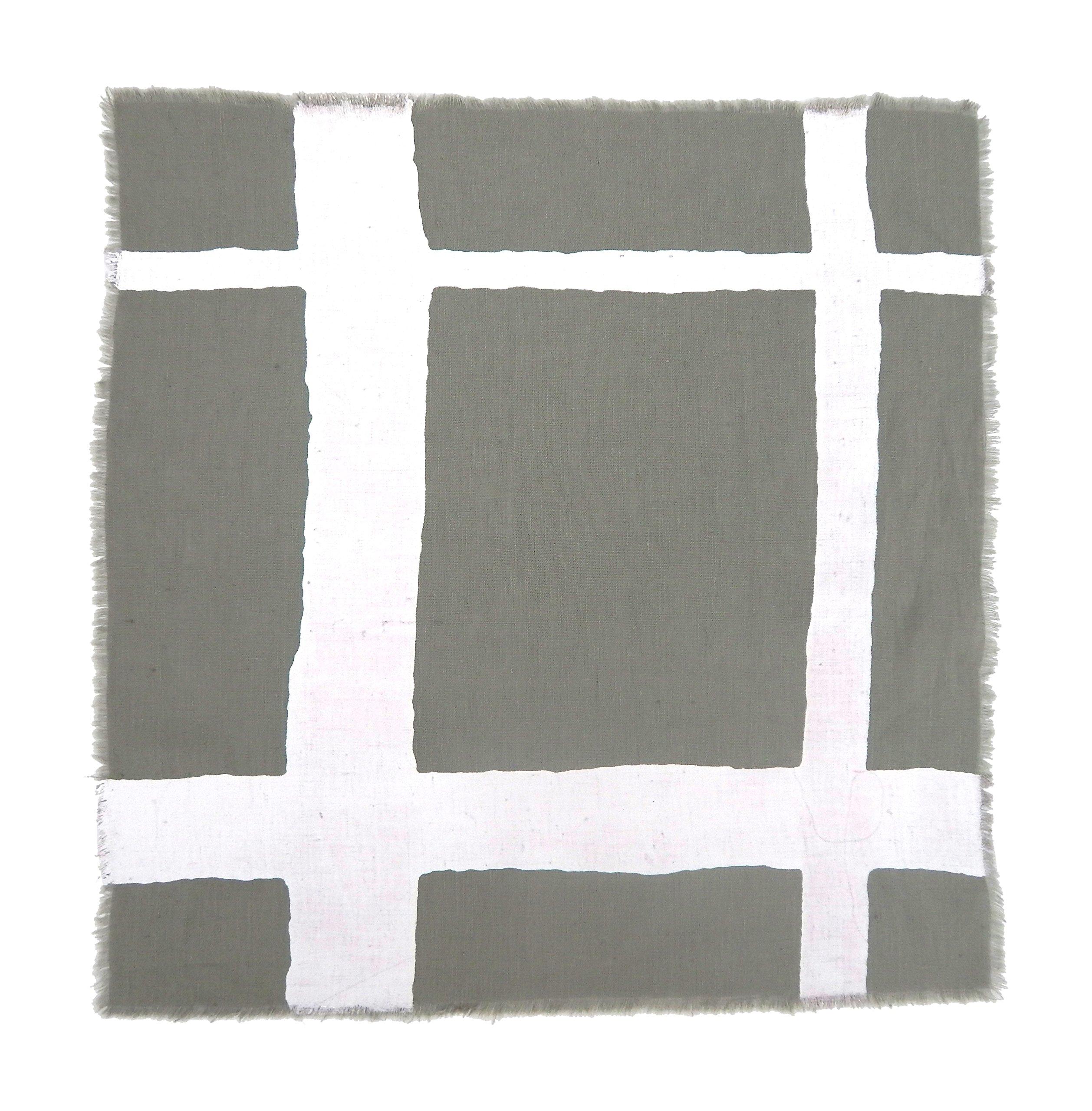 Gitika Goyal Home Windows Collection Cotton Khadi  Grey Napkin 17x17 Checks Design, White Hand Screen Print