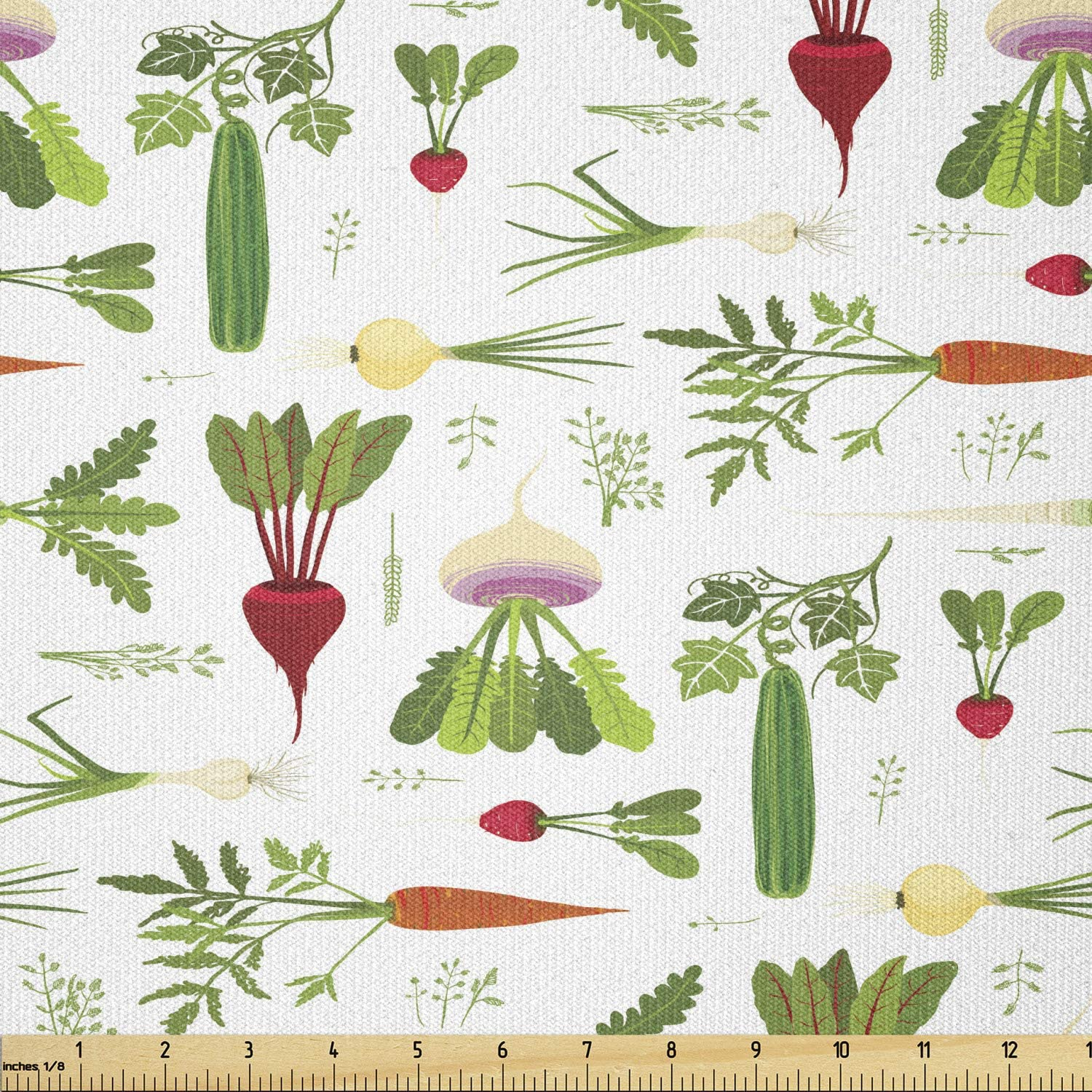 Ambesonne Vegetable Fabric by The Yard, Healthy Foods Pattern Cucumbers Carrots Garlic and Turnips Vegetarian Greens, Stretch Knit Fabric for Clothing Sewing and Arts Crafts, 1 Yard, Green Red