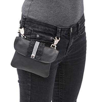 Jamin' Leather Black Leather & Lace Clip-On Pouch w/Crystal Strap #PKK1501SIL