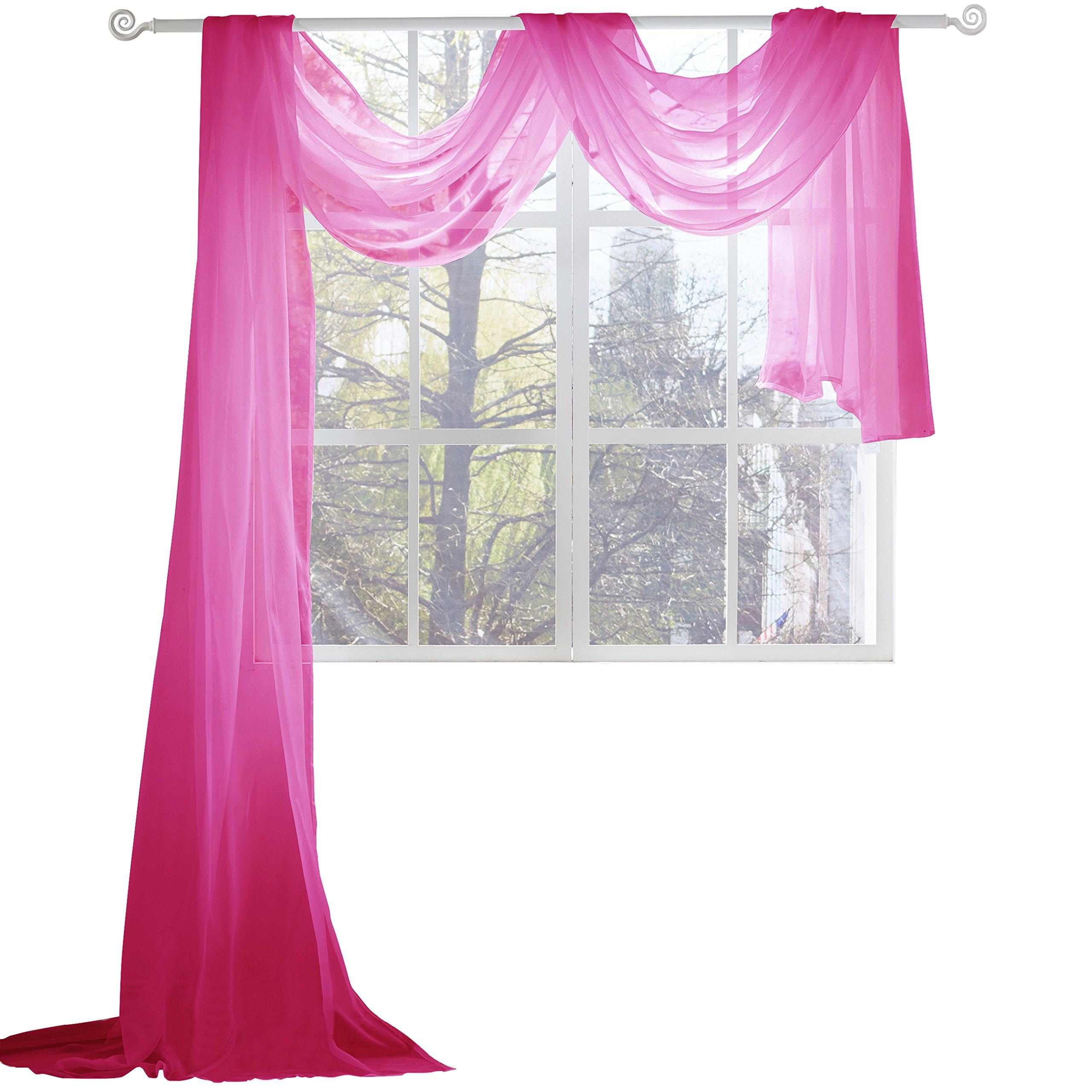 KEQIAOSUOCAI Sheer Window Scarf-Valance,52''x216'',Hot Pink