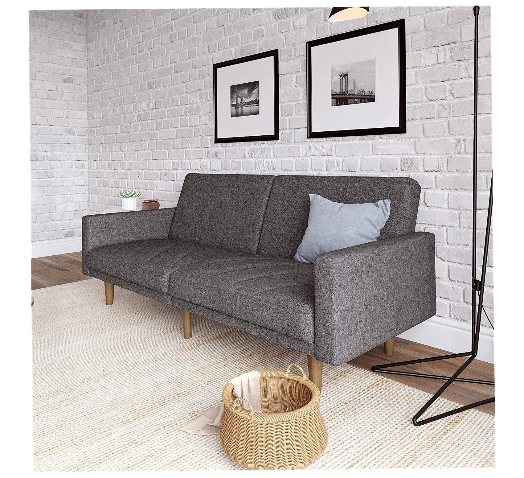 Home Convertible Futon Couch Bed with Linen Upholstery and Wood Legs - Grey Office Décor Studio Living Heavy Duty Commercial Bar Café Restaurant by Wood & Style