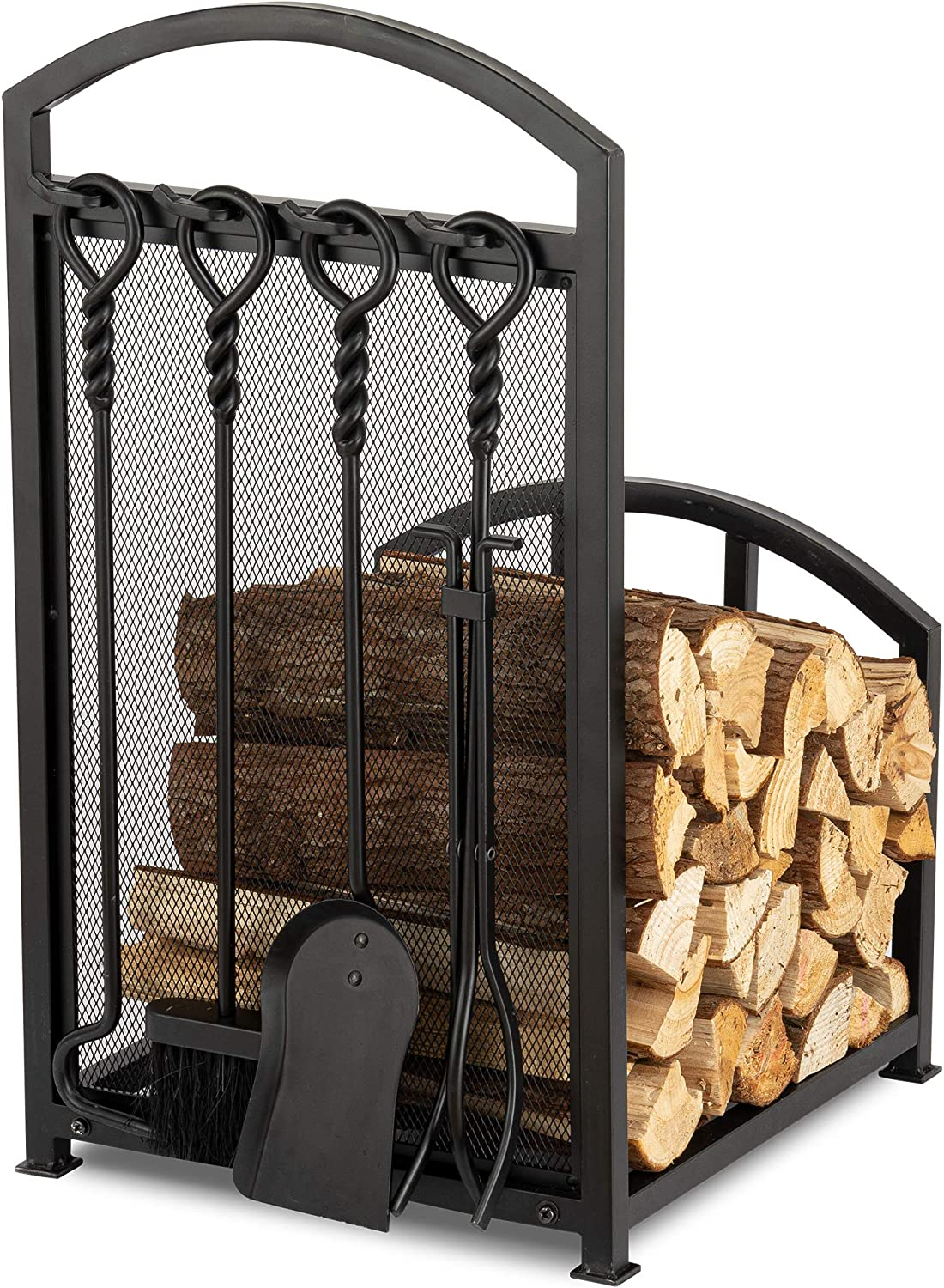 Amagabeli 30.7in Tall Firewood Rack with 4 Tools Indoor Outdoor Firewood Holders Wood Holder Rack Lumber Storage Stacking Heavy Duty Wrought Iron Log Bin Holder Large Tool Set Accessories