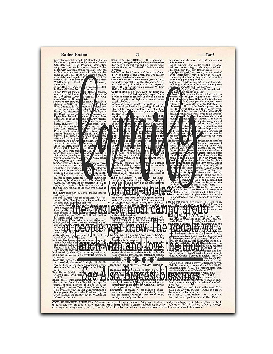 Family Definition - Sentimental Home Decor - Dictionary Page Art Print, 8x11 inches, Unframed