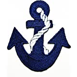 """Anchor Blue Applique Patch Rope 1.75/"""" Blue 3-Pack, Iron on White"""