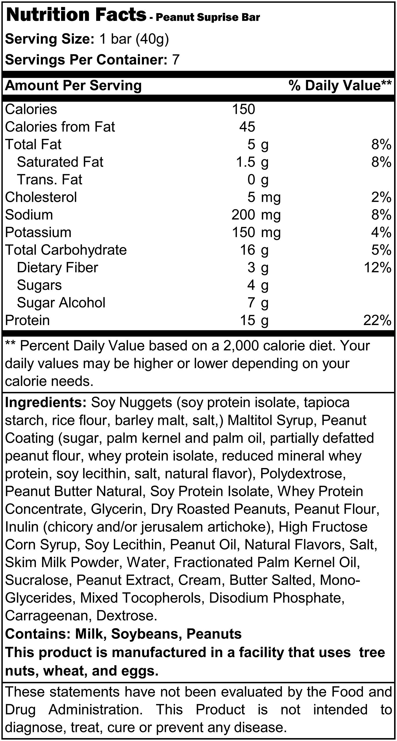 Protidiet Peanut Surprise High Protein Bar 9.9 oz (Box of 7) by Protidiet (Image #1)