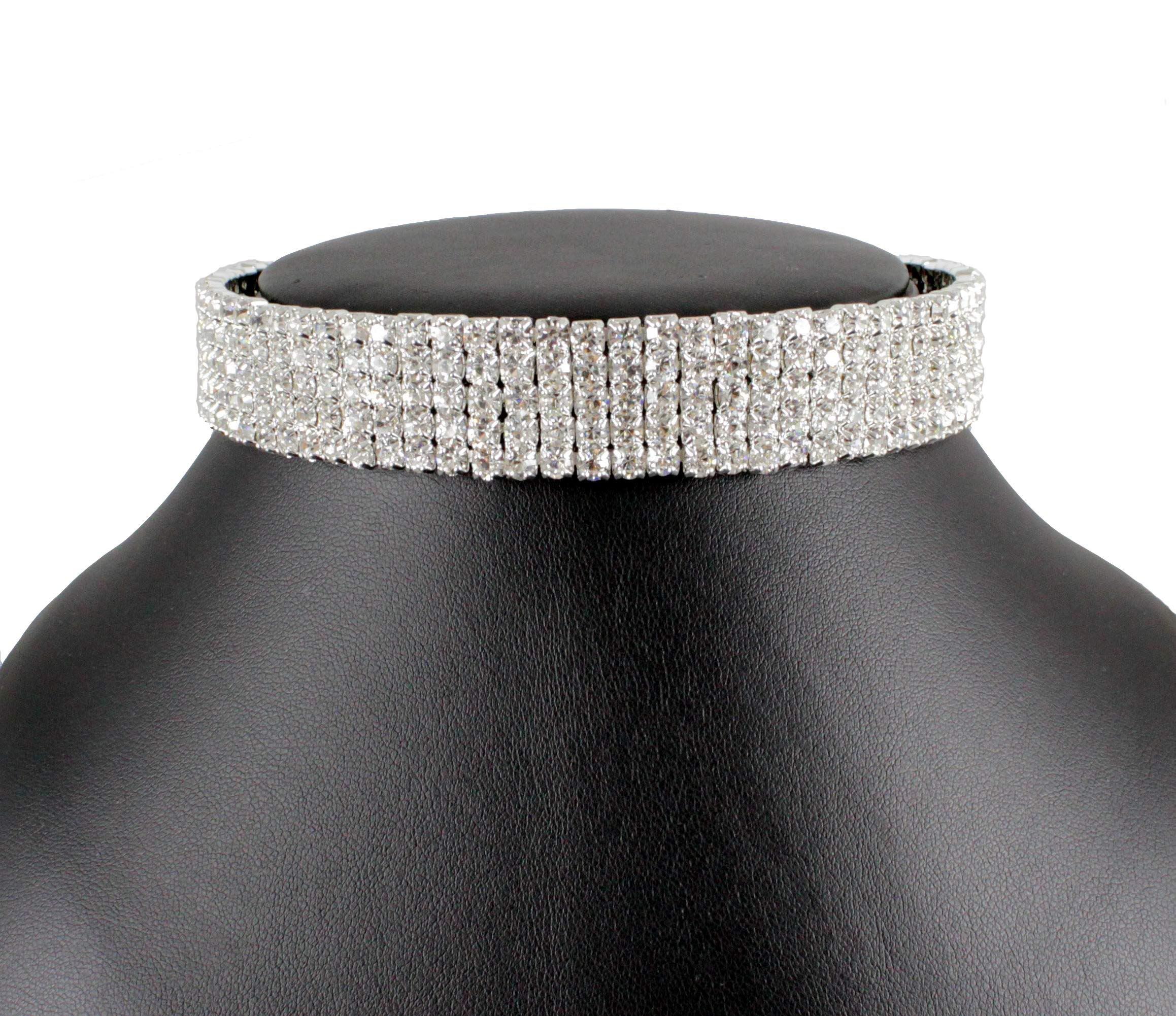 Janefashions 5-row Clear Austrian Rhinestone Crystal Choker Necklace Party Wedding Prom N060 Silver