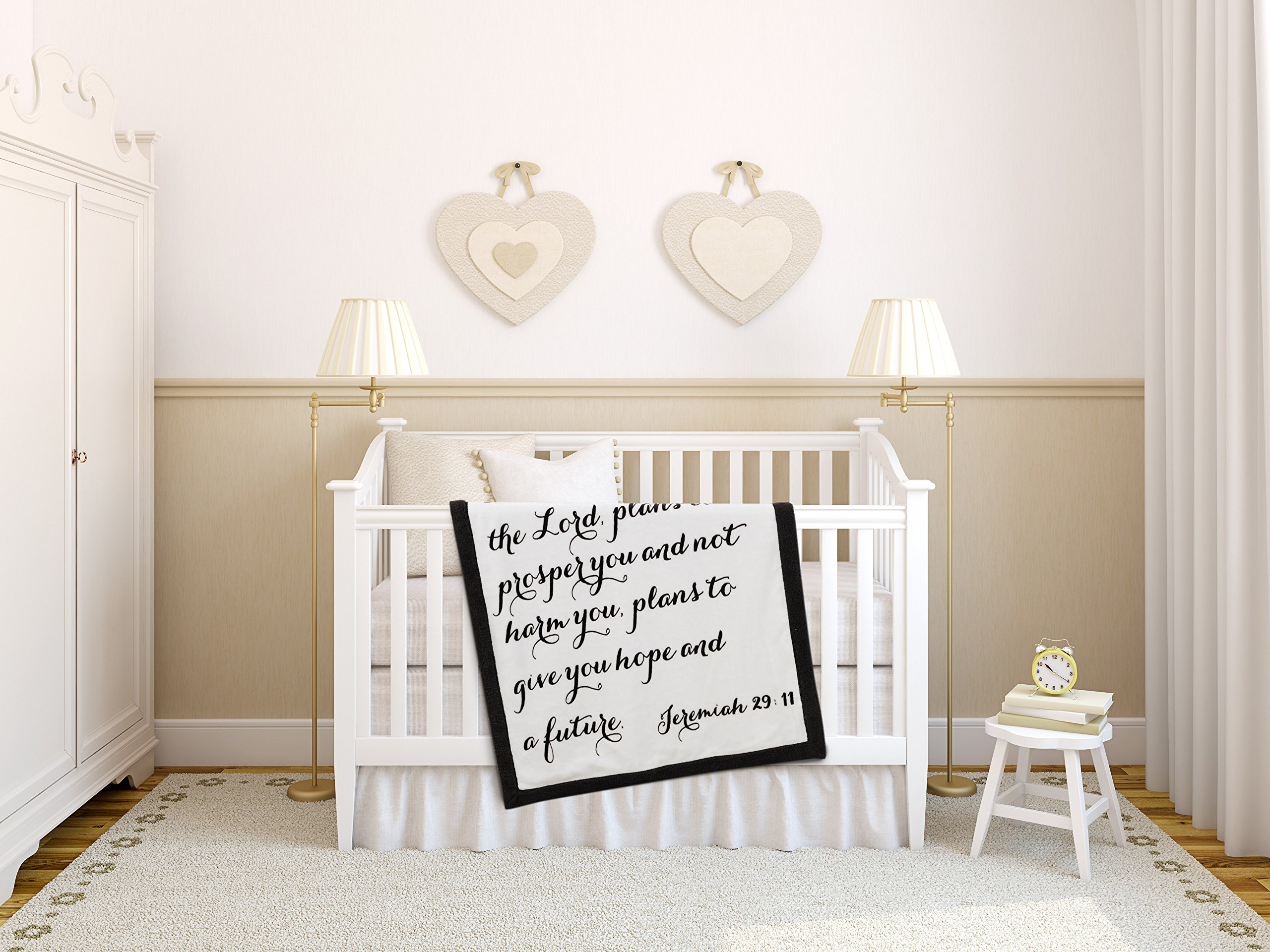 Luxuriously Soft Scripture Throw Baby Blanket | Jeremiah 29:11 | 30x40 inches (Brown)