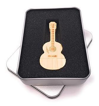 Onwomania Guitarra acústica de Madera Guita. Memoria USB Stick en ...
