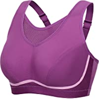 SYROKAN Women's Plus Size High Impact No-Bounce Full Coverage Wire Free Sports Bra