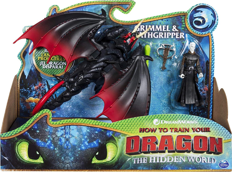 Dragons Dragon & Viking Grimmel/Deathgrippers - Figuras de juguete para niños (Multicolor, 4 año(s), Niño/niña, Dibujos animados, Animales, Dragon Riders) , color/modelo surtido