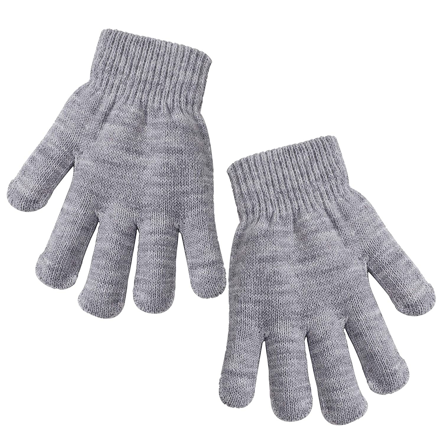 Cooraby Kids Gloves Thick Winter Knitted Gloves Stretchy Full Fingers Gloves Mitten for Boys and Girls