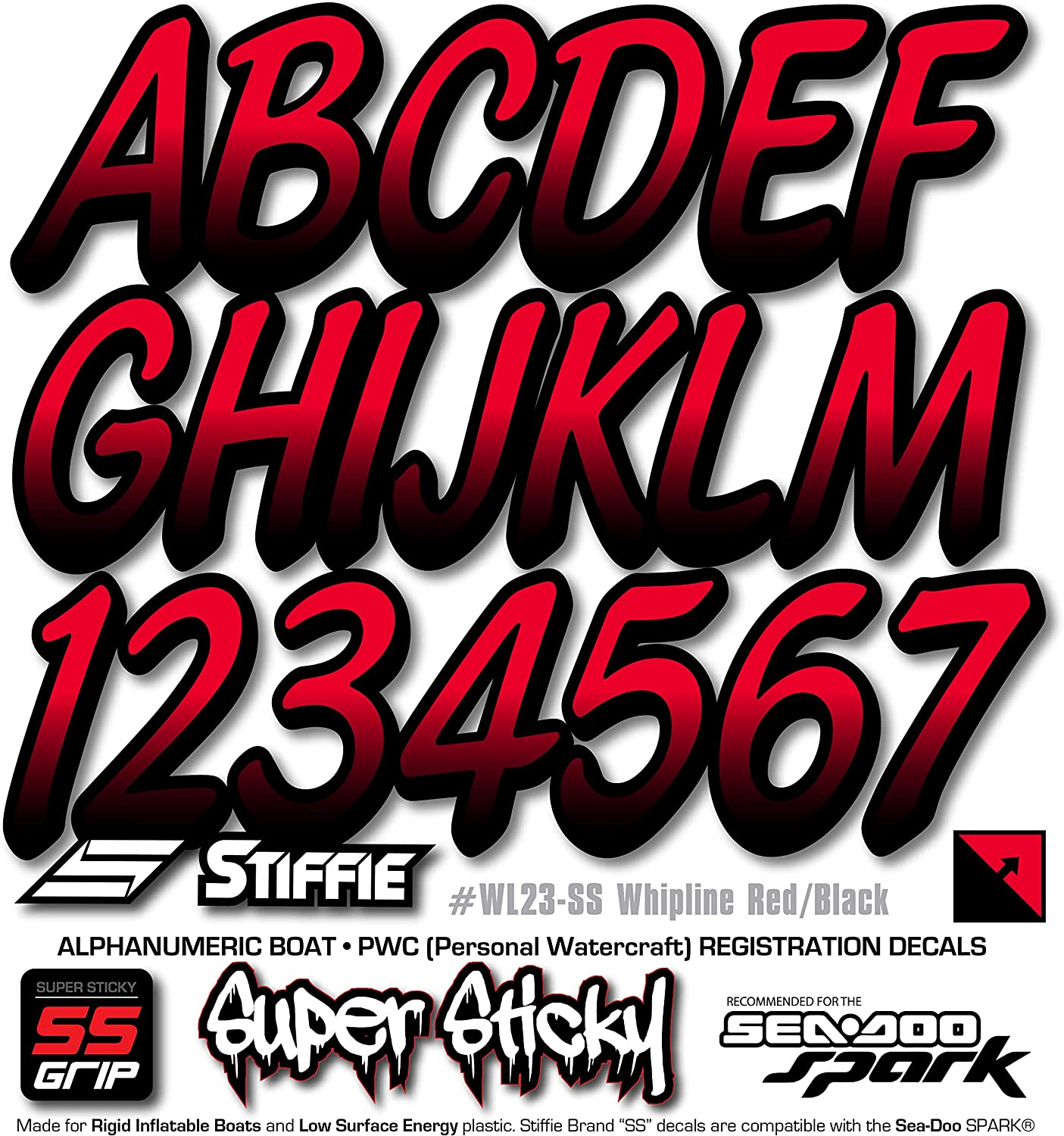 Stiffie Whipline Red//Black 3 Alpha-Numeric Registration Identification Numbers Stickers Decals for Boats /& Personal Watercraft
